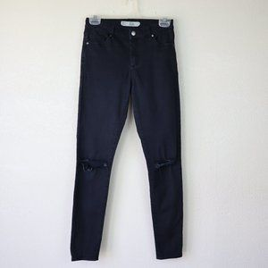 Topshop Moto Leigh Gray Washed Jeans